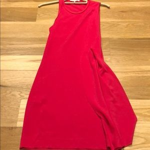 Hot pink maje body-con dress with side frill